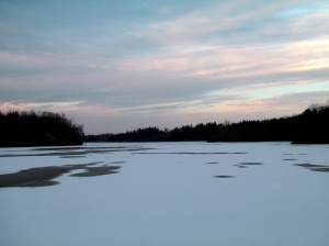 Winter evening at the lake