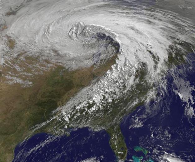 "Photo: Satellite image of October 26, 2010 ""super-storm."" Credit: NASA/GSFC."