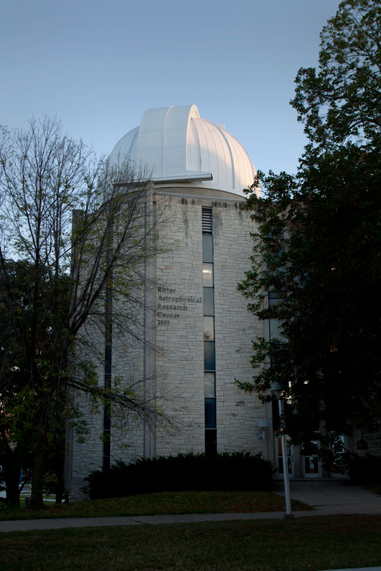 Photo: Evening exterior of the Ritter Observatory, Toledo, Ohio. Photo by James Guilford.