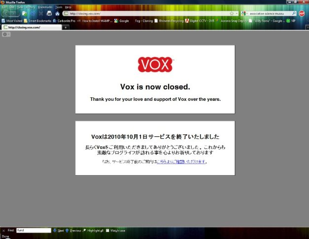 Image: Screen shot of Vox Closed notice.
