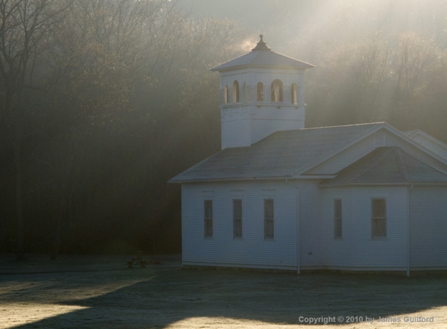 Photo: Cold steam rises from church roof. Photo by James Guilford.