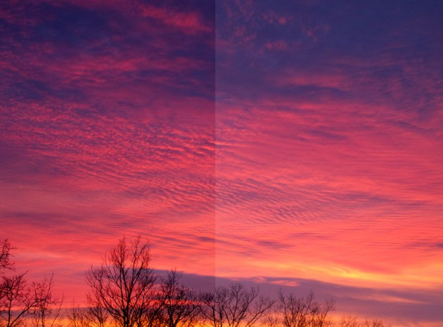 Photo: Post- and pre-calibration images of sunset. Photo by James Guilford.