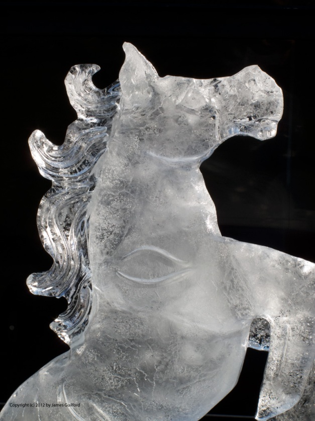 Photo: Ice carving of a rearing horse. Photo by James Guilford.