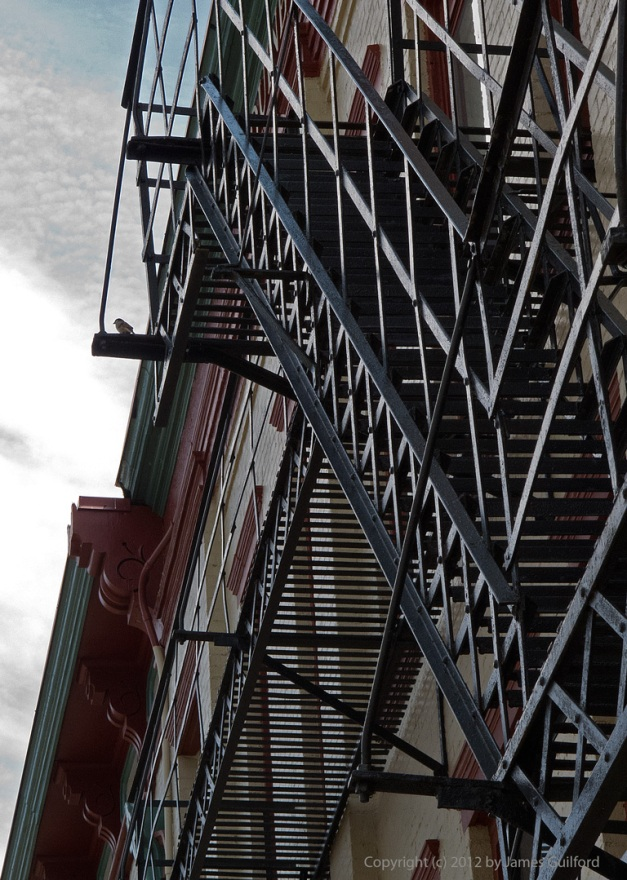 Photo: Fire escape system on the side of a building. Photo by James Guilford