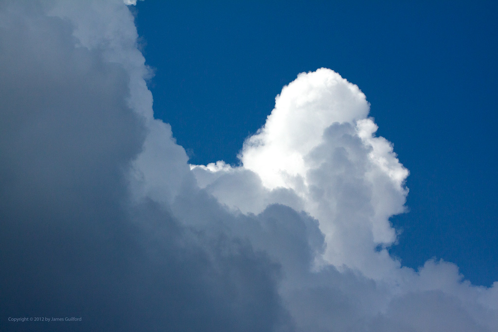 Photo: Cumulus clouds towering on a summer day. Photo by James Guilford.