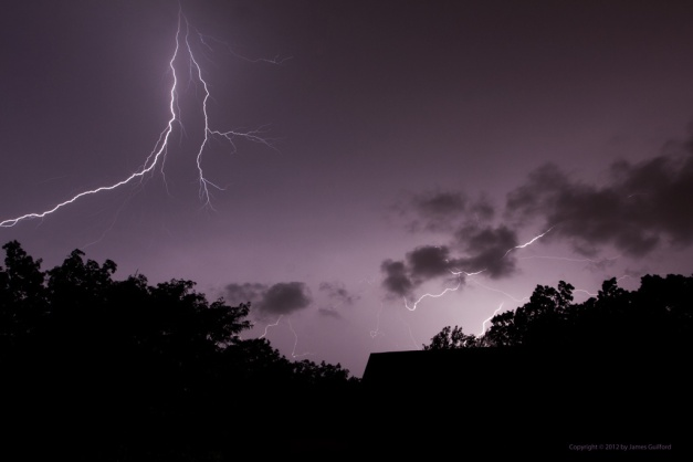 Photo: Spectacular lightning discharges during an early August storm. Photo by James Guilford.