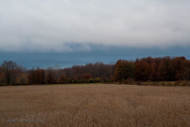 Photo: Storm clouds move in over an autumn farm scene. Photo by James Guilford.