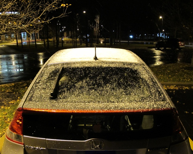 Photo: Icy snow on the top of a car. Photo by James Guilford.