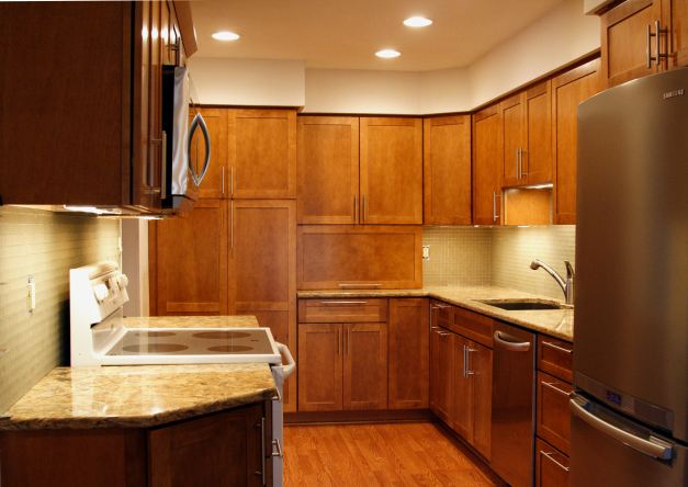 Photo: Longer view of nearly-completed kitchen. Photo by James Guilford.