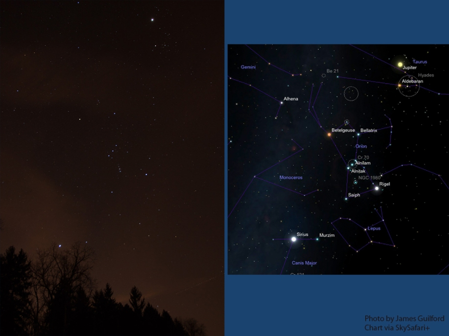 Image: Photo of stars with identification chart.