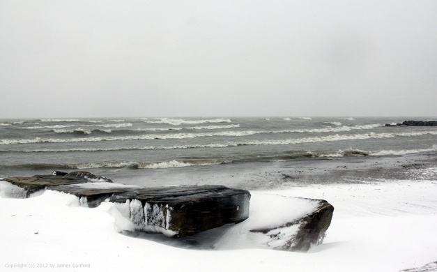Photo: Stormy winter beach scene. Photo by James Guilford.