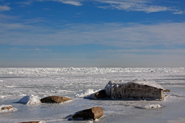 Photo: Shattered ice offshore on Lake Erie. Photo by James Guilford.
