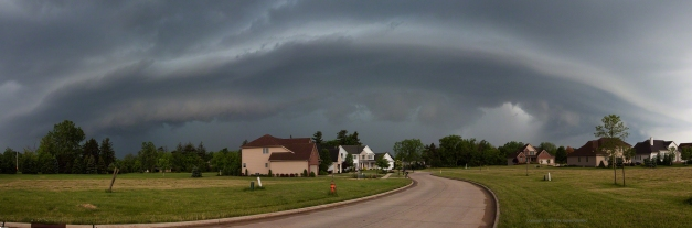 Photo: Panoramic view of approaching thunderstorm. Photo by James Guilford.