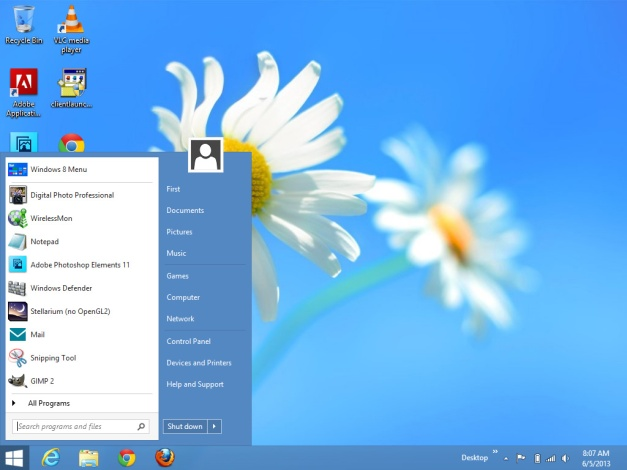 Image: Windows 8 desktop screen shot.
