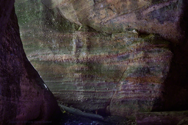 Photo: Light plays upon colorful rock . Photo by James Guilford.