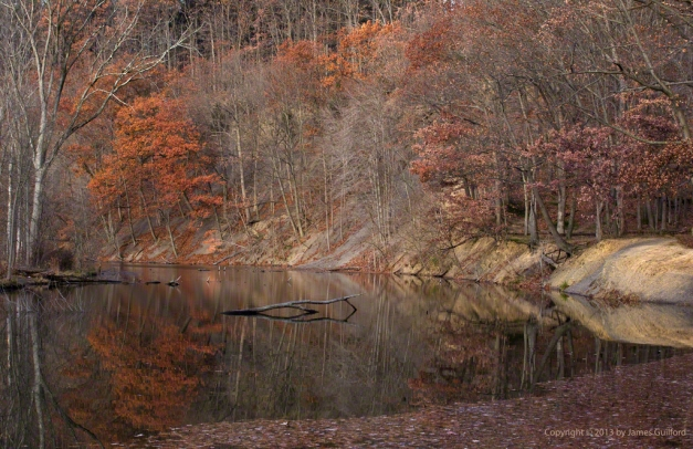 Photo: Muted fall colors reflected in the still waters of a lagoon. Photo by James Guilford.