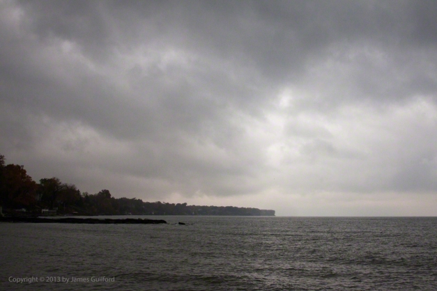 Photo: Rain clouds over Lake Erie on a November morning. Photo by James Guilford.