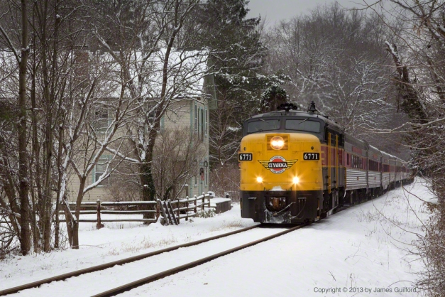 Photo: Excursion train arriving in Peninsula, Ohio. Photo by James Guilford.