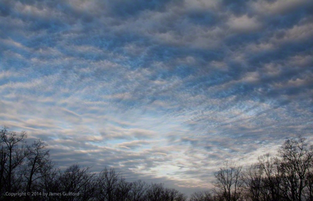 Photo: Intricate patters are seen in the clouds. Photo by James Guilford.