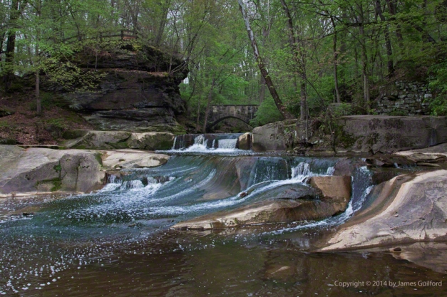 Photo: Water flowing over rocky stream bed. Photo by James Guilford.