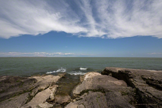 Photo: Rocks and Lake Erie off Marblehead, Ohio. Photo by James Guilford.