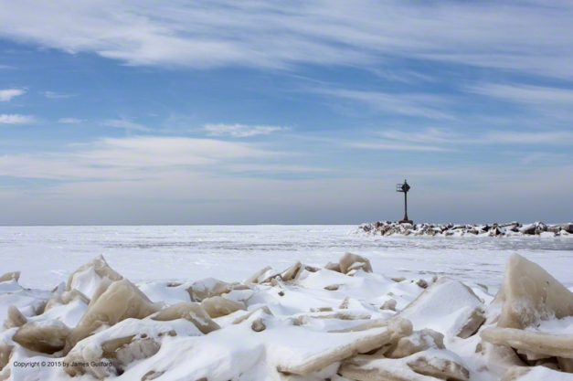Photo: Ice plates and snow at Lakeview Park, Lorain, Ohio. Photo by James Guilford.