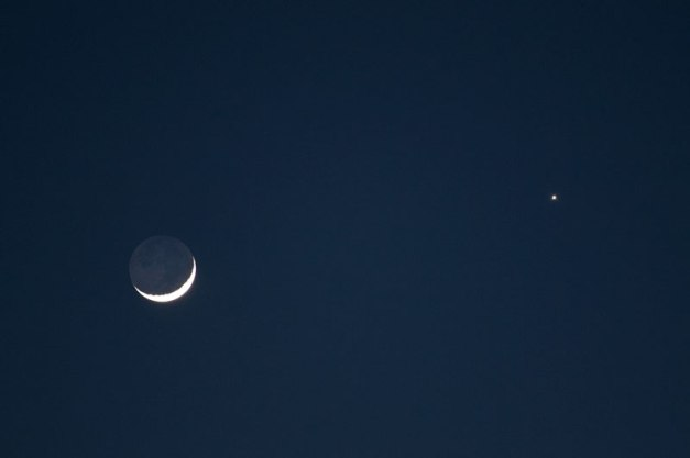 Photo: Moon and Venus in Twilight. Photo by James Guilford.