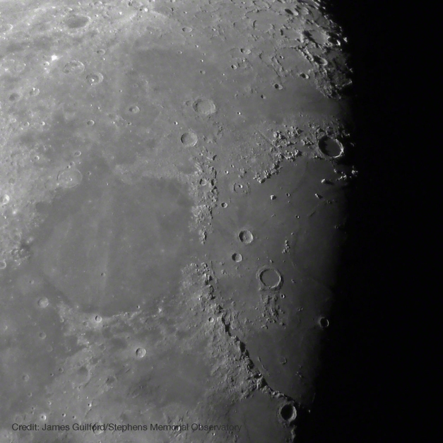 The Moon: Mare Tranquillitatis (left) and Mare Iridium (right). Photo by James Guilford.