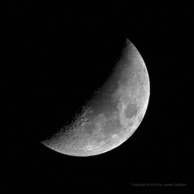 Photo: The Waxing Gibbous Moon. Photo by James Guilford.