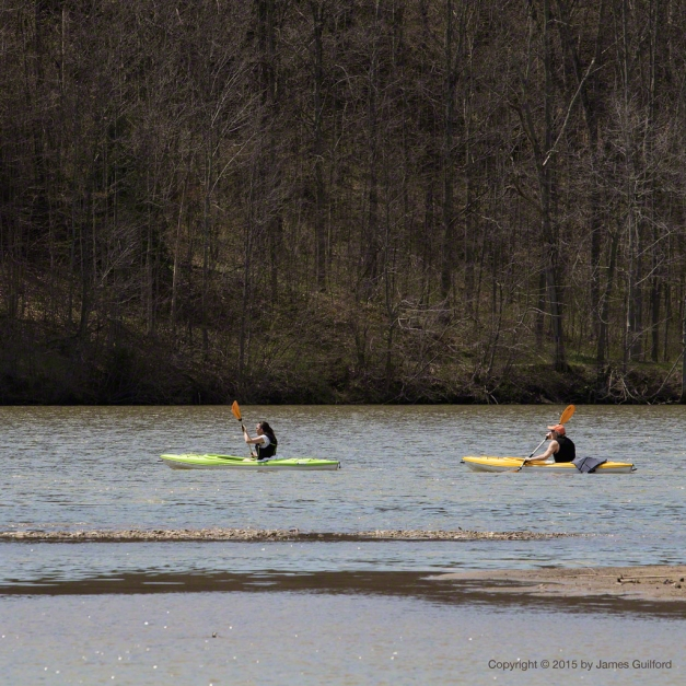 Photo: Couple kayaking on lake. Photo by James Guilford.