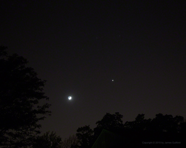Photo: Moon and Venus amongst the Stars of Gemini. Photo by James Guilford.