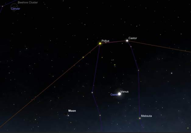 Astronomical Chart Identifying Objects in Western Sky Evening of May 21, 2105. SkySafari