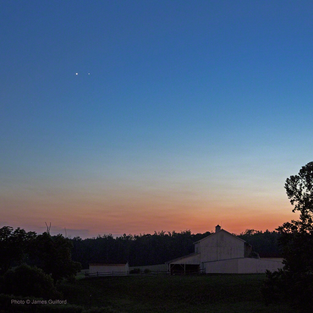 Photo: Venus and Jupiter in twilight sky. Photo by James Guilford.