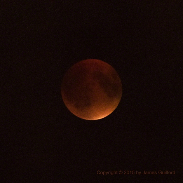 Totality - Total Lunar Eclipse. Photo by James Guilford.