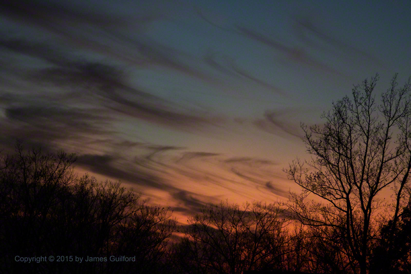 Photo: Cirrus clouds in sunset. Photo by James Guilford