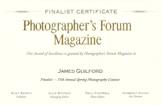 Photo: Finalist Certificate for James Guilford