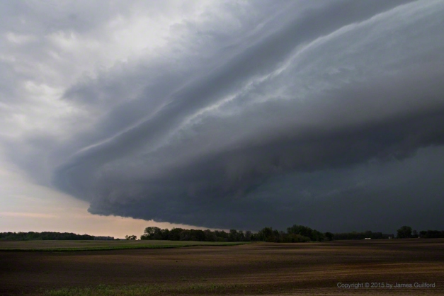 Photo: Shelf cloud of thunderstorm in Northwestern Ohio. Photo by James Guilford.