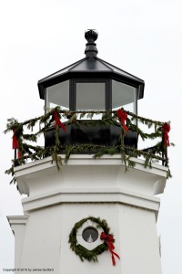 Photo: Vermilion (Ohio) Lighthouse with holiday wreaths. Photo by James Guilford.