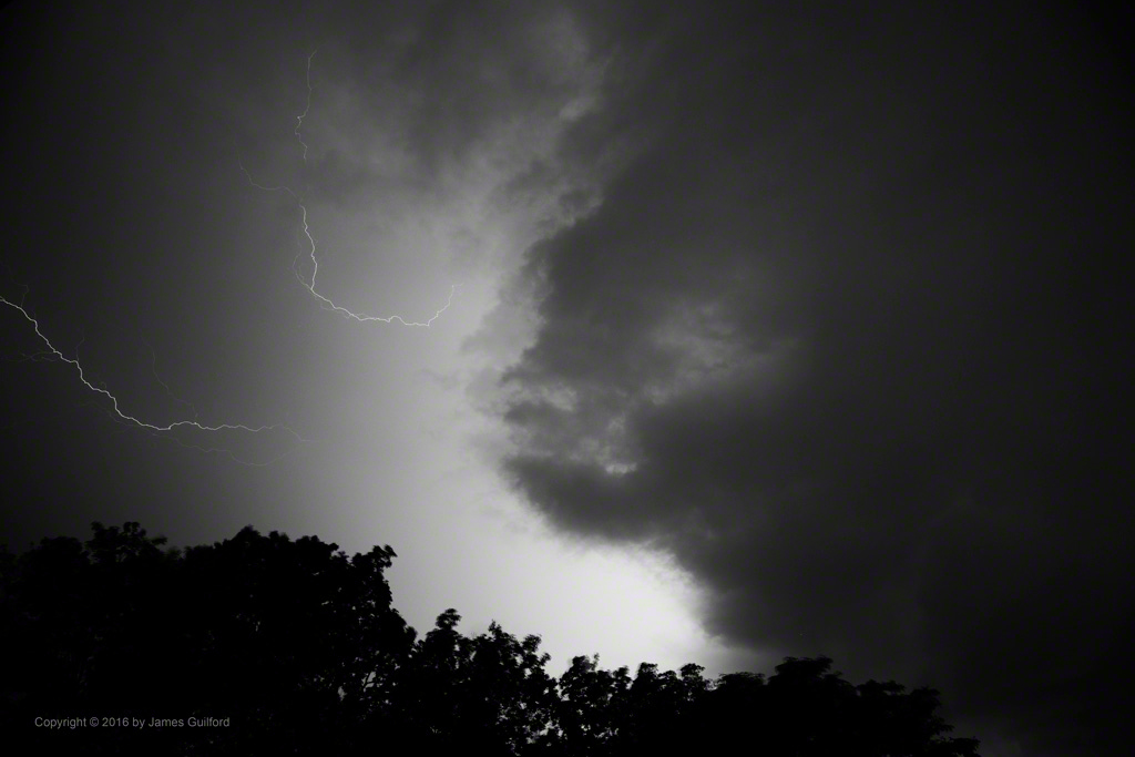 Photo: Bolts of Lightning Illuminate the Coming Storm. Photo by James Guilford.