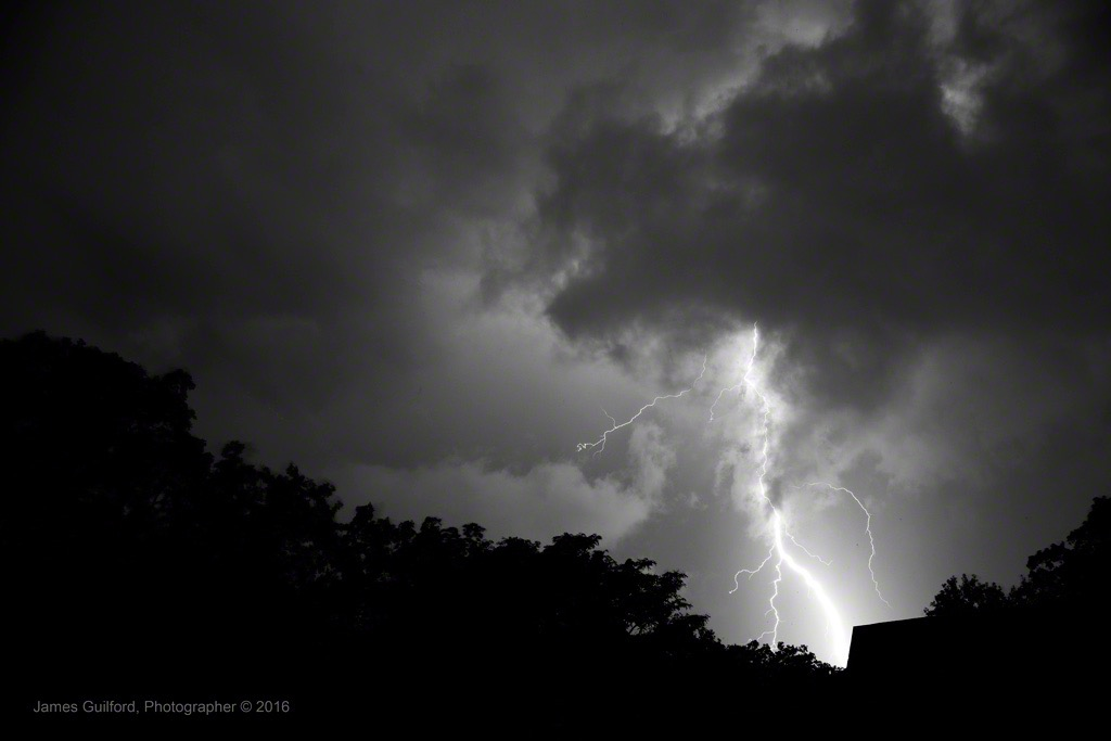 Photo: A Very Intense Bolt of Cloud-to-Ground Lightning. Photo by James Guilford.