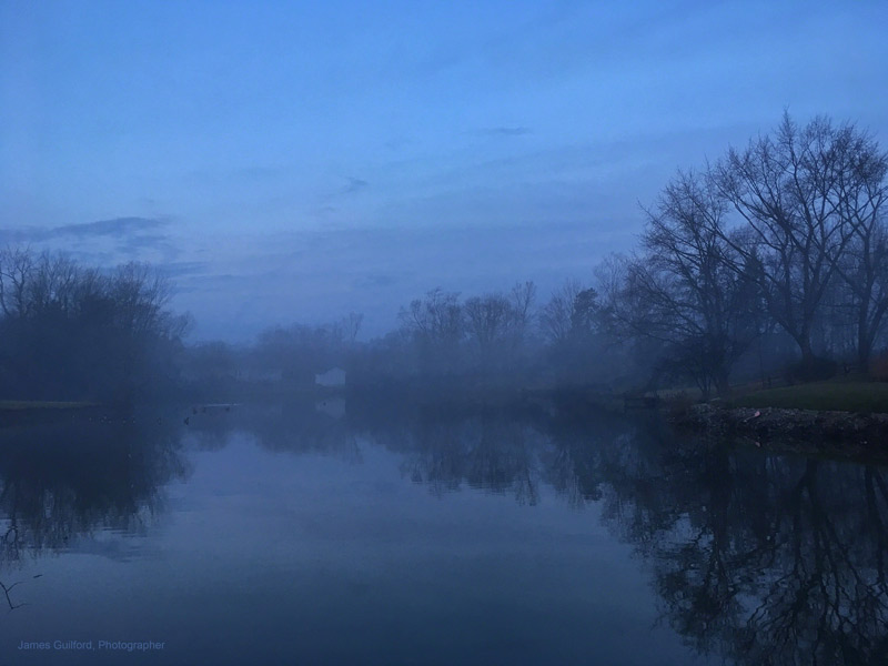 Photo: Fog, still waters, and pre-dawn sky set the mood. Photo by James Guilford.