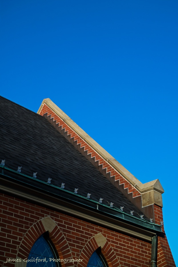 Photo: Church roofline displays design resembling steps going skyward. Photo by James Guilford.
