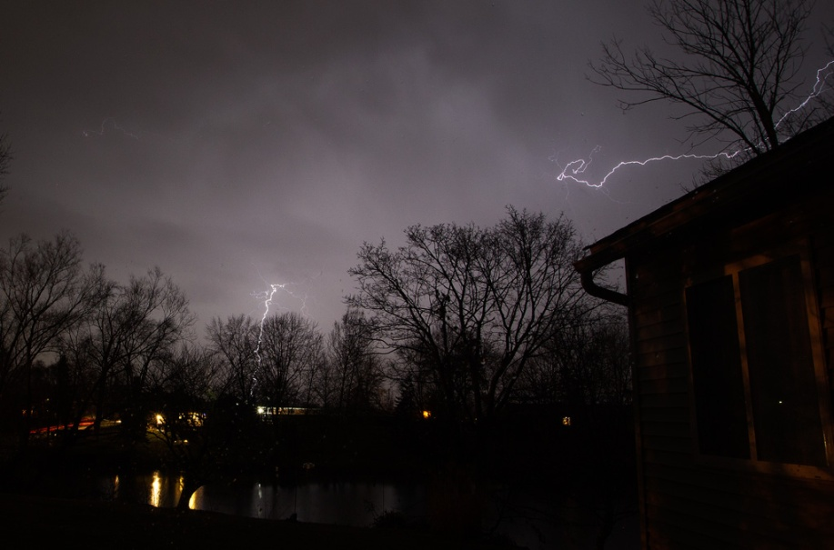 Photo: Lightning arcs in February Thunderstorm - Cloud-to-Cloud. Photo by James Guilford.