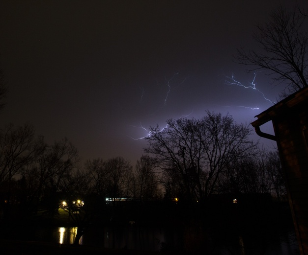 Photo: Lightning arcs in March Thunderstorm - Cloud-to-Cloud. Photo by James Guilford.
