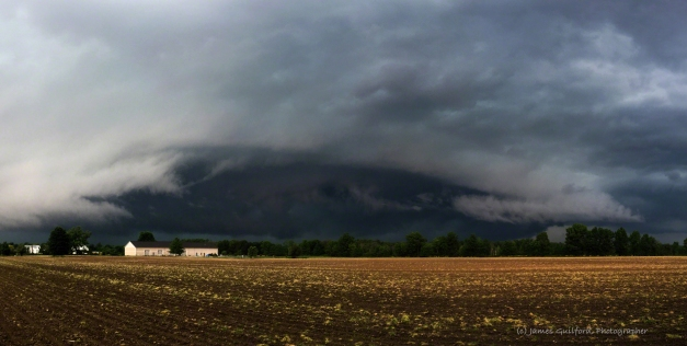 Photo: Shelf cloud panorama shot May 28, 2017 in Grafton Township, Ohio. Photo by James Guilford.