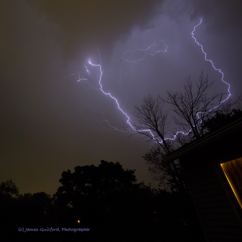 Photo: Unusual shapes of lightning. Photo by James Guilford.