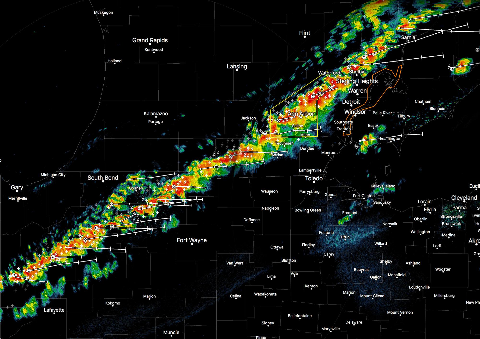Image: Radar Image of Line of Storms. September 4, 2017