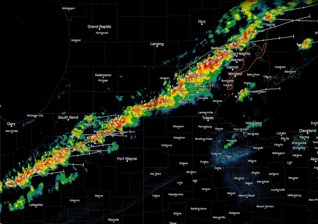 Image: Radar Image of Line of Storms. September 4, 2017
