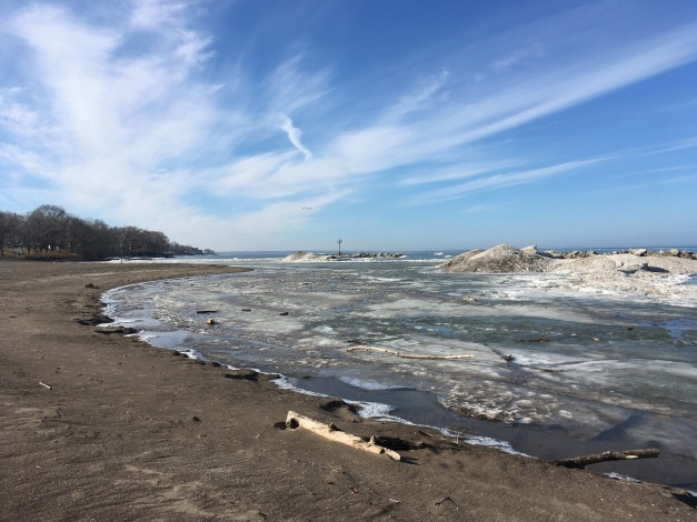 Photo: Lakeview Park Beach, Lorain, Ohio, in January 2018, Photo by James Guilford