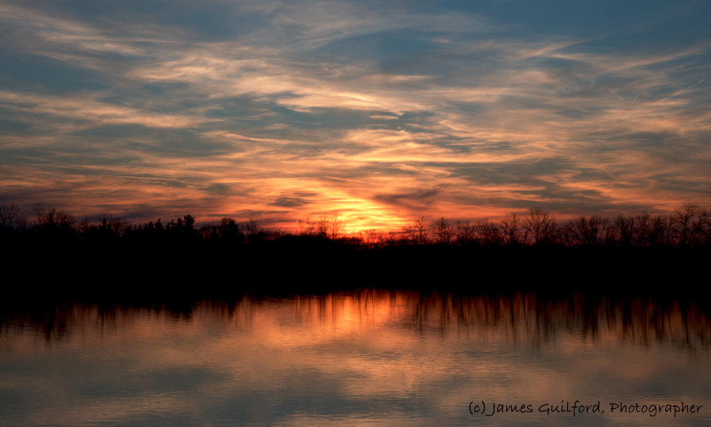 Photo: Sunset the night of a lunar-planetary conjunction. Photo by James Guilford.